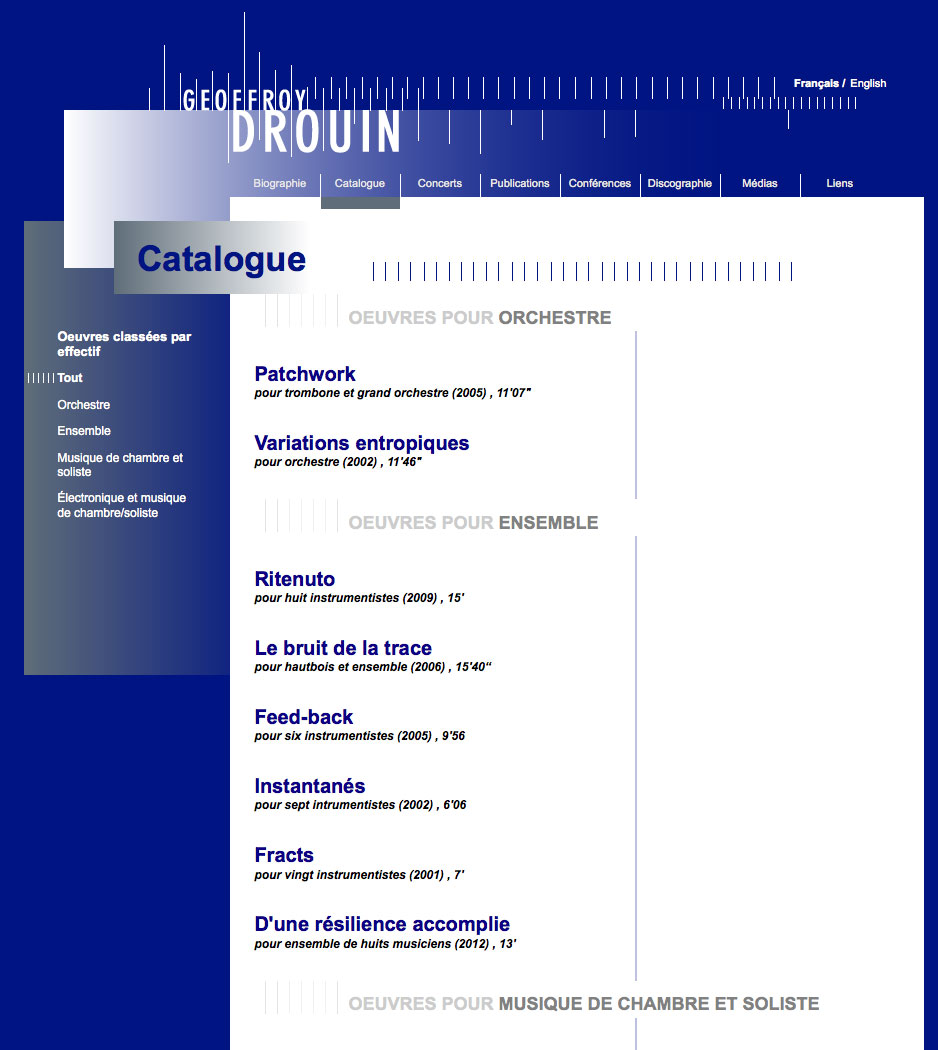 Geoffroy Drouin -  Catalogue
